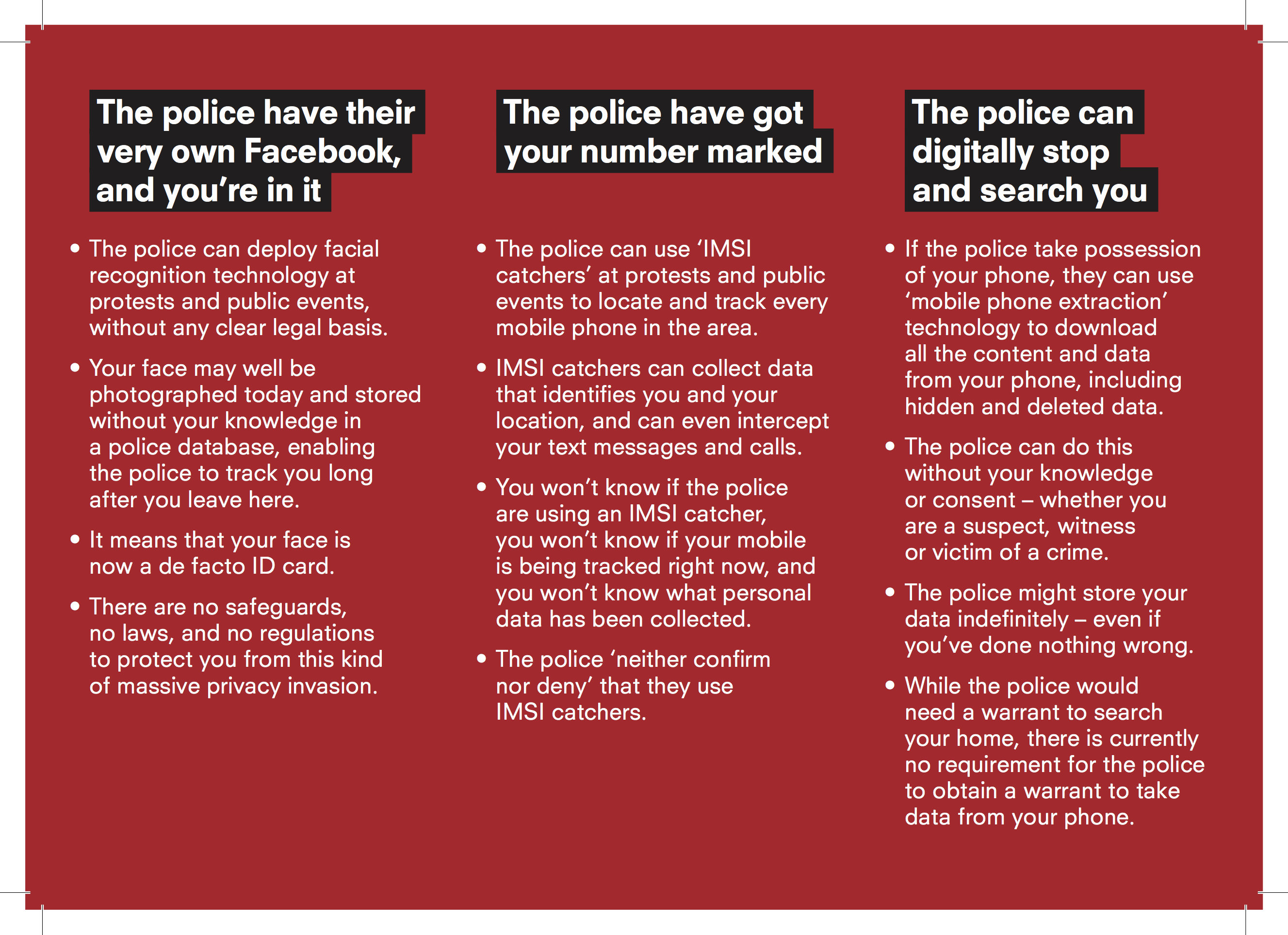 leaflet about police tech being used in public places in the uk