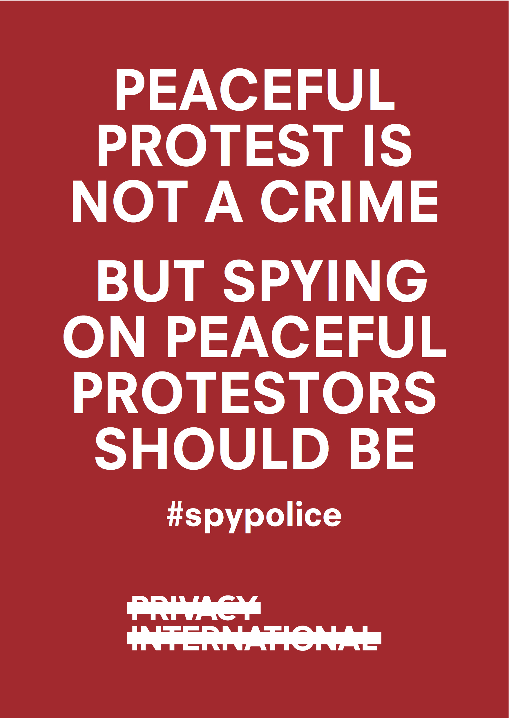 Peaceful protest is not a crime poster