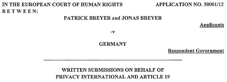 Breyer v. Germany Submissions