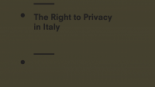 Joint Submission on the Right to Privacy in Italy, Human Rights Committee, 119th Session