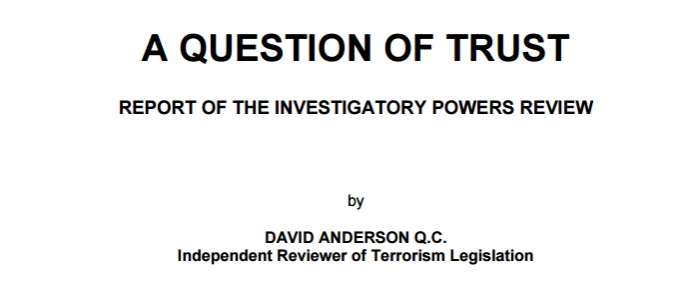 David Anderson A Question of Trust report cover