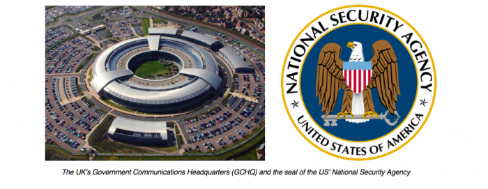 GCHQ building and NSA logo