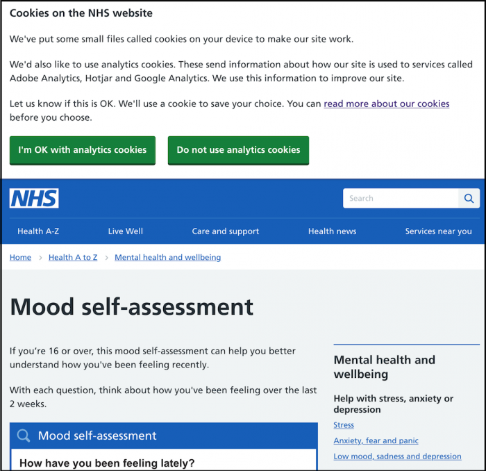 Screenshot of NHS depression test page