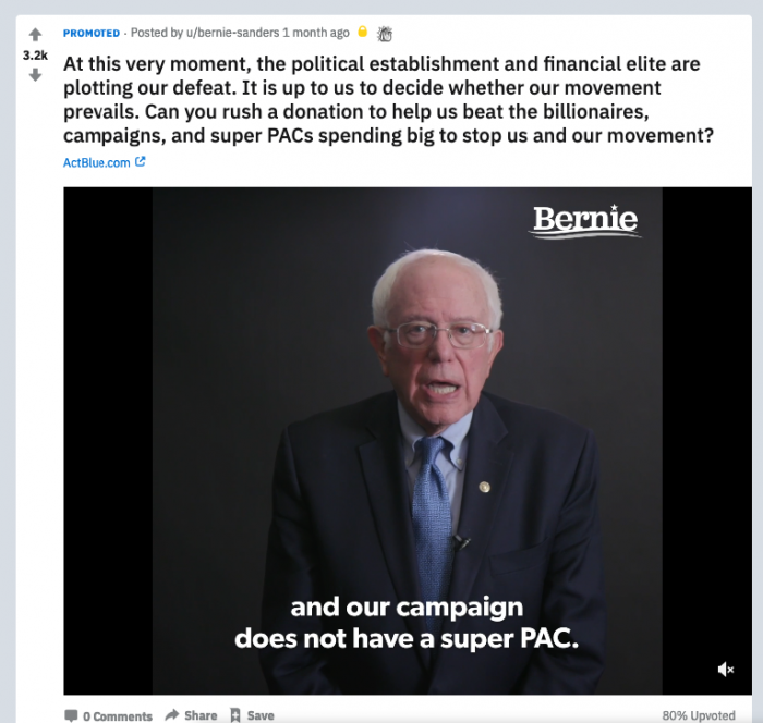 Example of a political Ad, no link to the related post in /r/RedditPoliticalAds