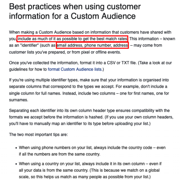 FB Custom Audience Best Practices