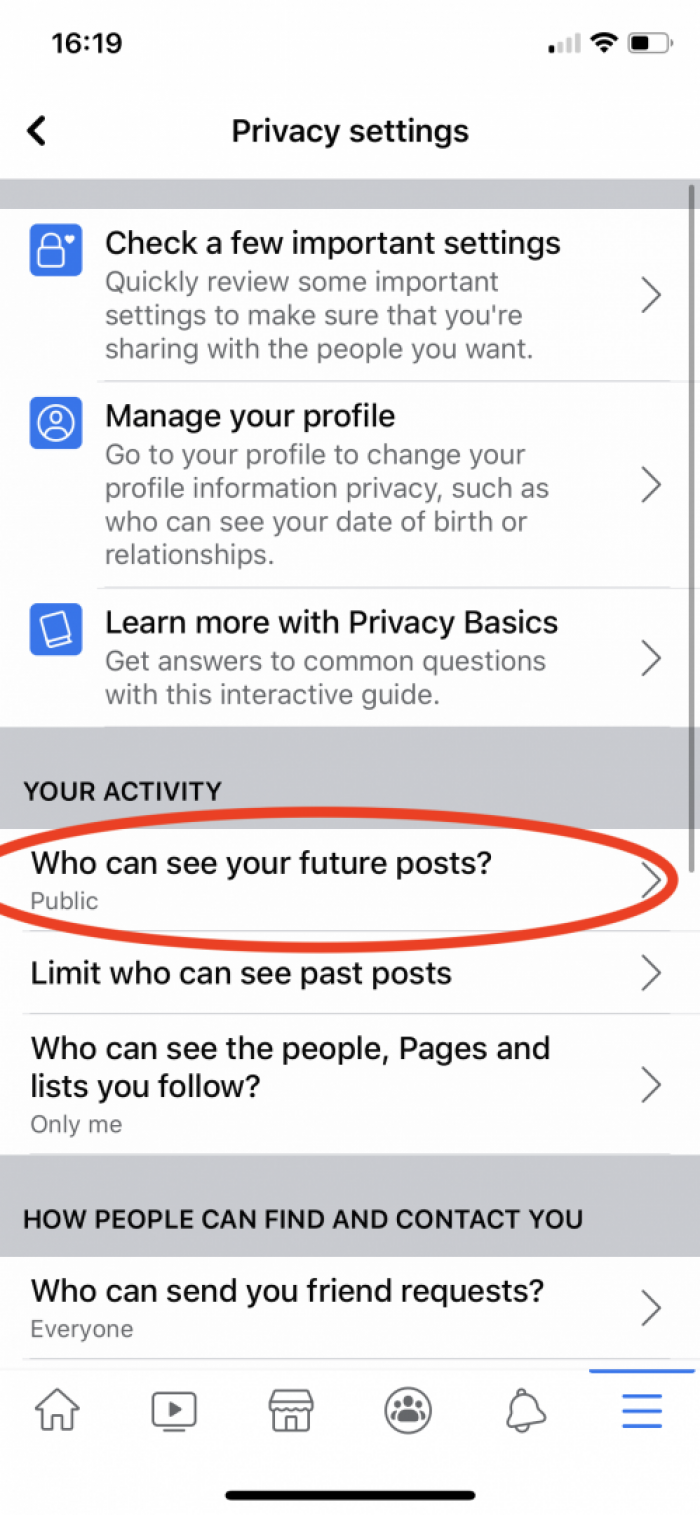 Facebook Privacy Settings - iOS