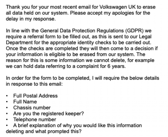 Volkswagen UK reply