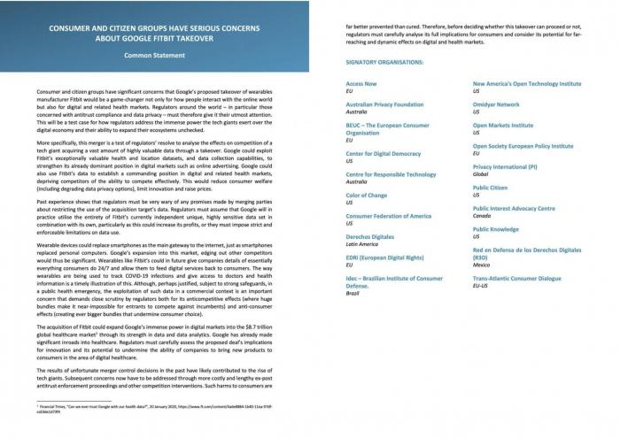 BEUC letter to European Commission