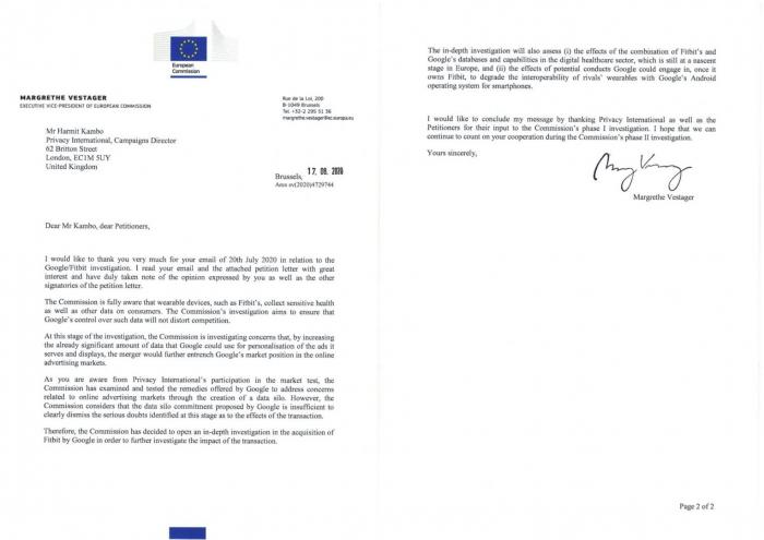 Thank you letter from Margrethe Vestager