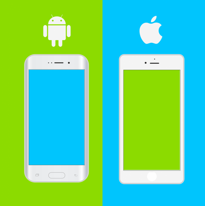 Andriod phone and iPhone side by side graphic