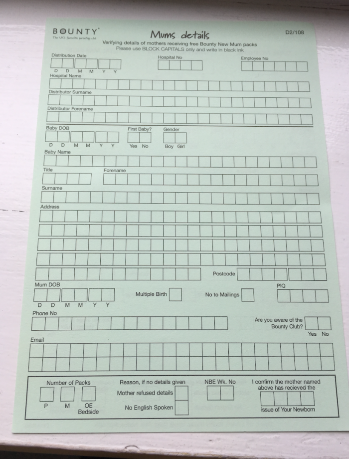 An image of the Bounty form asking for information.