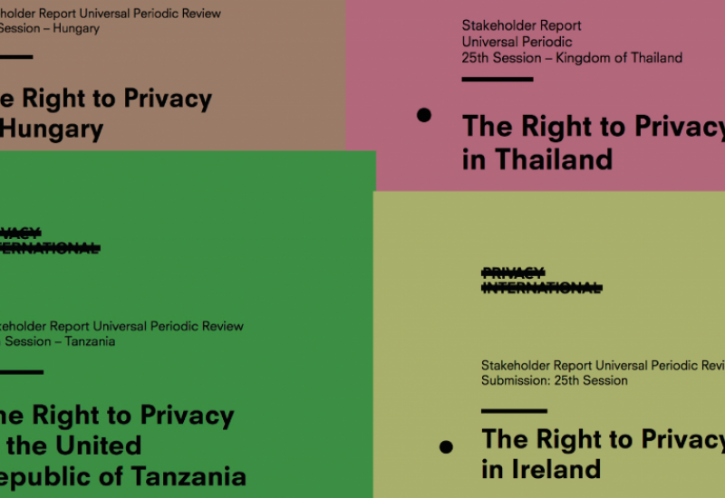 Covers of Privacy International work