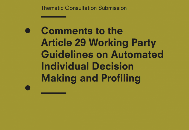 Privacy International's Comments To The Article 29 Working Party Guidelines On Automated Individual Decision-Making And Profiling
