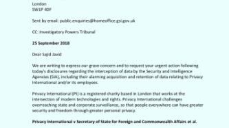 Letter to Home Secretary