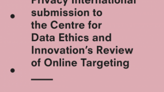 PI's submission to the Centre for Data Ethics and Innovation's Review of Online