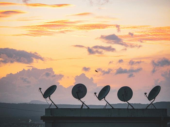 Satellite dishes in skyline