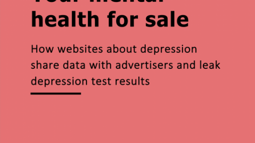 Frontpage of mental health report: Your mental health for sale