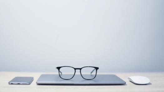 glasses on a laptop