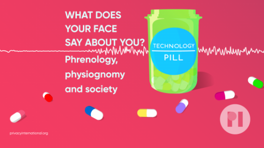 A green pill bottle surrounded by multicoloured pills - the label reads Technology Pill. Text reads What does you face say about you? Phrenology, physiogonomy, and society