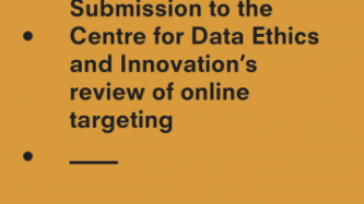 Front cover of submission to data ethics and innovation