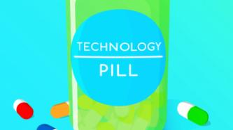 A green pill bottle surrounded by muticoloured pills, the label reads Technology Pill