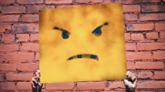 Angry paiting on yellow canvas