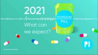A green pill bottle surrounded by multicolour pills. Label reads Technology Pill, next to title 2021: What can we expect? It sits on a waveform