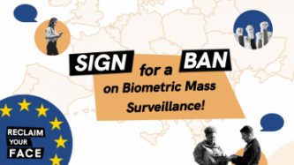 Protest related images on bubbles sitting on top of an outlined map of the European Union Text reads: Sign for a ban on biometric mass surveillance