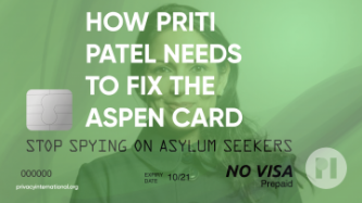 "Picture of a debit card with Priti Patel's face on it and the title ""How Priti Patel Needs to Fix the Aspen Card"""